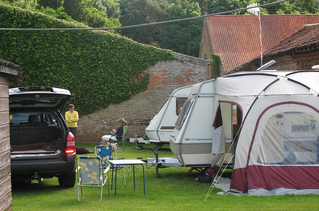 Modern small caravan at Barmer Garden Caravan Site