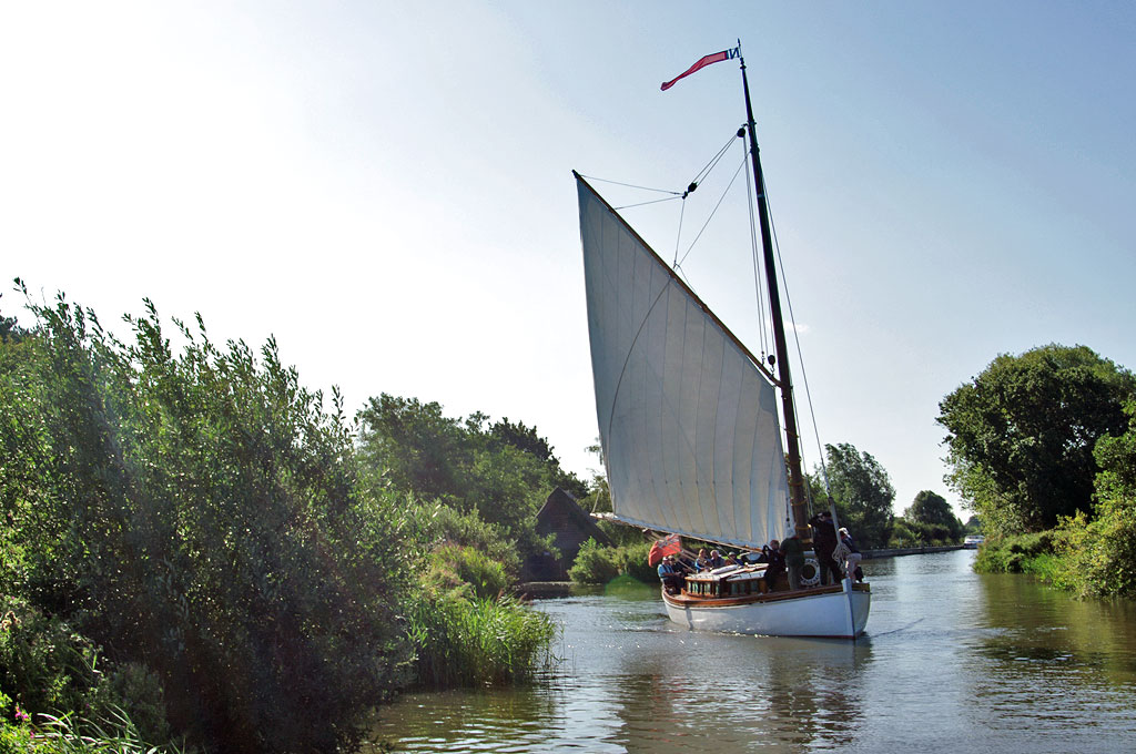 Norfolk Broads... a wherry yacht on the river Ant